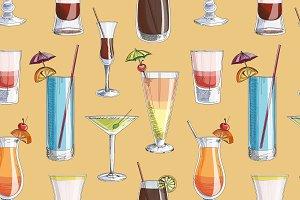 Doodle pattern cocktails