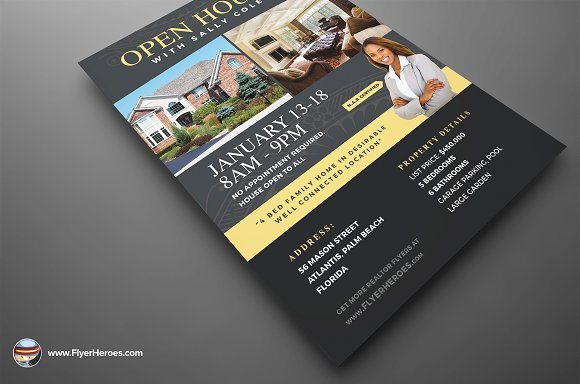 Open House Flyer Template 2 Flyer Templates on Creative Market – Open House Flyer Template