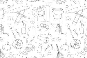 Doodle pattern set of cleanup
