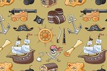 Doodle pattern set of pirates