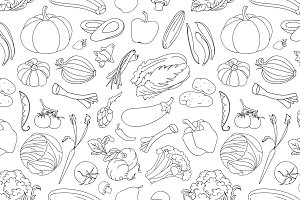 Doodle pattern of vegetables