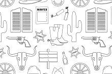 Doodle pattern wild West