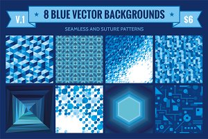 8 Blue Vector Backgrounds