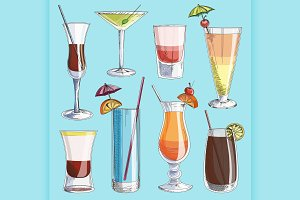 Doodle vector cocktails