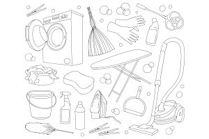 Doodle vector set of cleanup