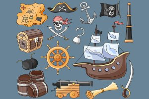 Doodle vector set of pirates