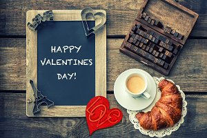 Coffee with croissant Valentines Day