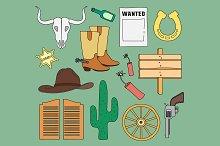 Doodle vector wild West
