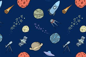 Seamless dooble space pattern set