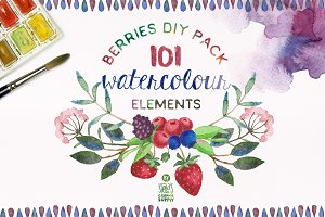Watercolor Berries DIY Pack