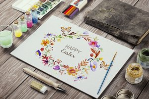 Watercolor Easter Floral Frame