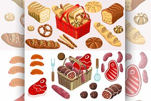 Food Set Meat and Bread Isometric