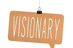 Visionary word on cardboard