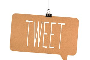 Tweet word on cardboard