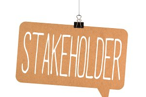Stakeholder word on cardboard