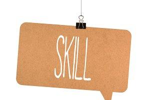 skill word on cardboard