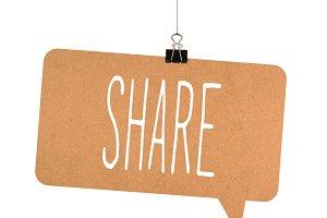 Share word on cardboard