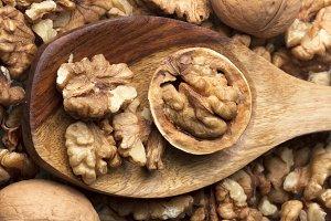 Dry Fruit walnuts in spoon