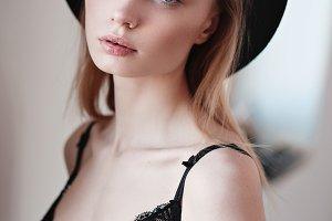 beautiful blonde in lingerie