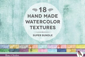 18 Real Watercolor Textures Bundle