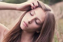 beautiful girl with closed eyes
