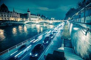 Voie Georges Pompidou at Night
