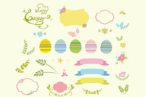 Easter design elements vector set