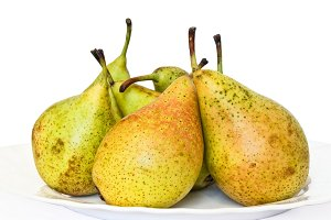 Fresh pears over white