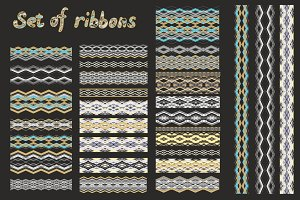Set of geometric ribbons