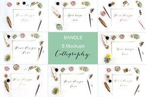 Bandle 8 mockups. Calligraphy.