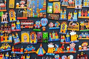 Colorful souvenir magnets in Prague