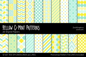Yellow And Mint Digital Papers
