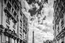 Paris street in black and white.