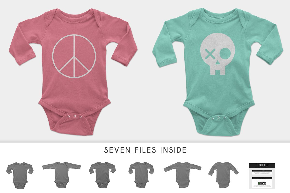 Infant Long Sleeve Onesie Mockups in Product Mockups - product preview 2