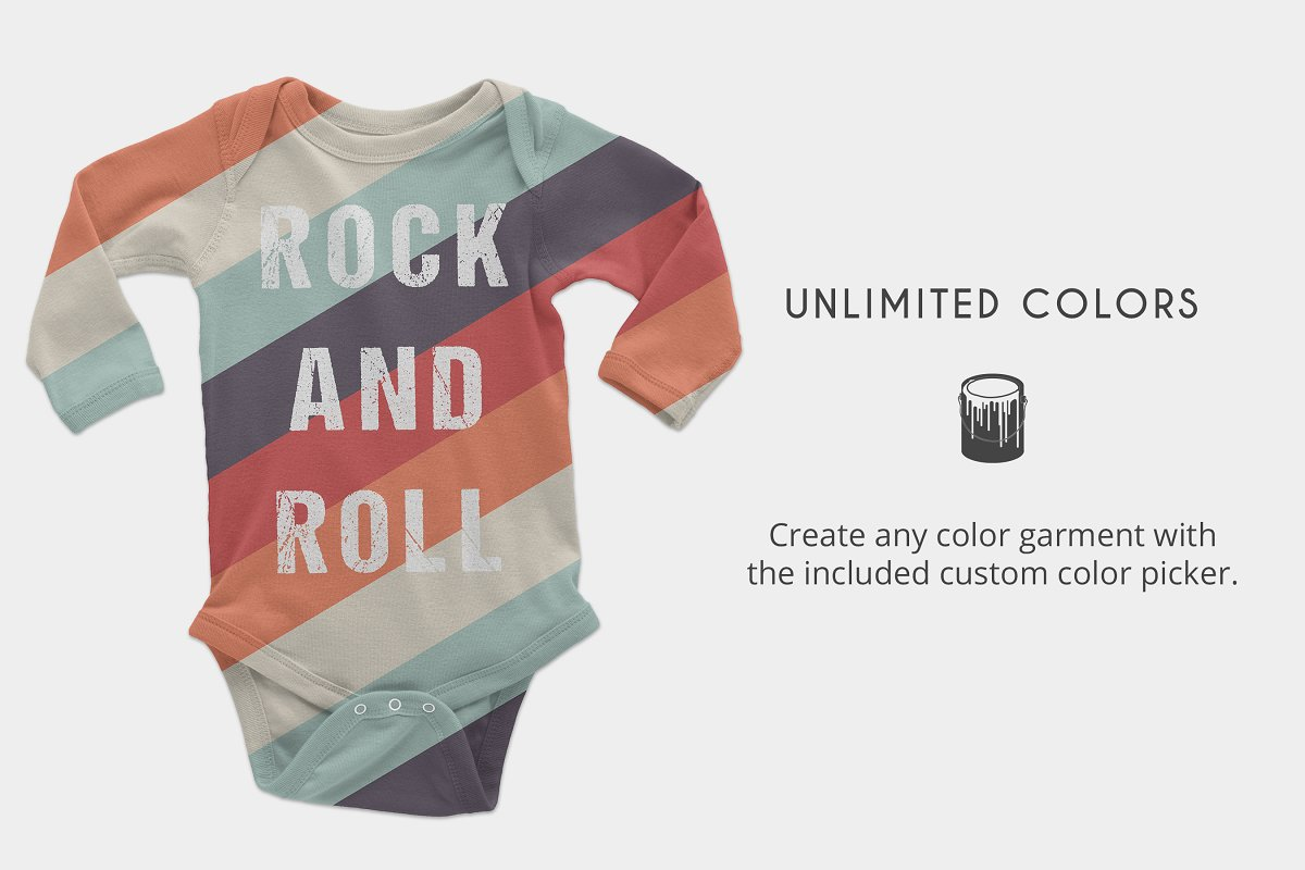 Infant Long Sleeve Onesie Mockups in Product Mockups - product preview 4