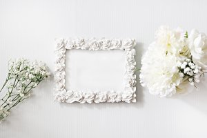 White on White Roses Mockup