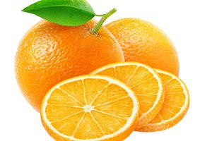 Isolated cut oranges