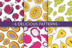 Fruity patterns color & monochrome