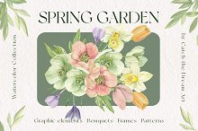 Spring Garden Watercolor Flowers