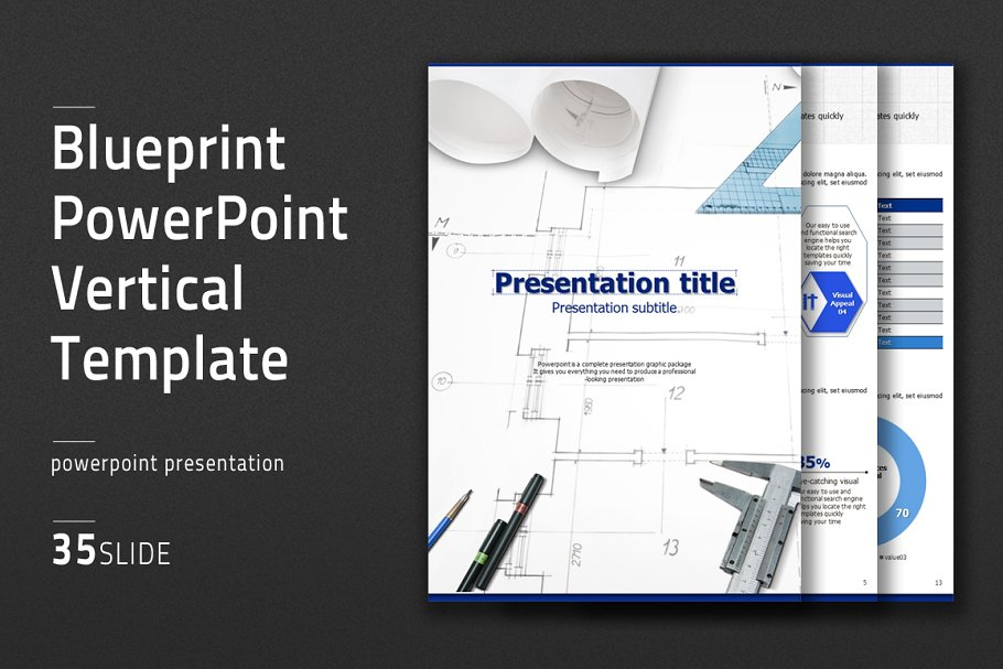 Blueprint Ppt Vertical Templa Powerpoint Templates