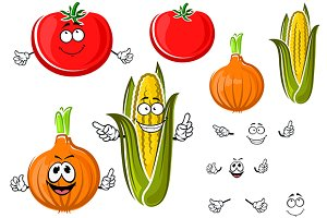 Happy cartoon onion, tomato and corn
