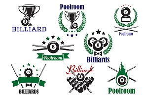 Billiard game or poolroom icons
