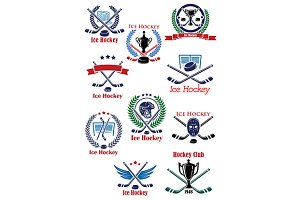Ice hockey sport game emblems