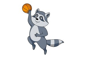 Cartoon raccoon player with ball
