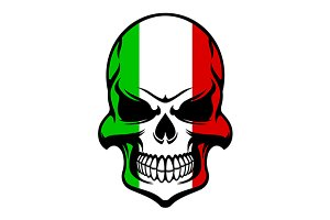 Skull in colors of the Italian flag