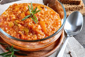 Soup or risotto with vegetables