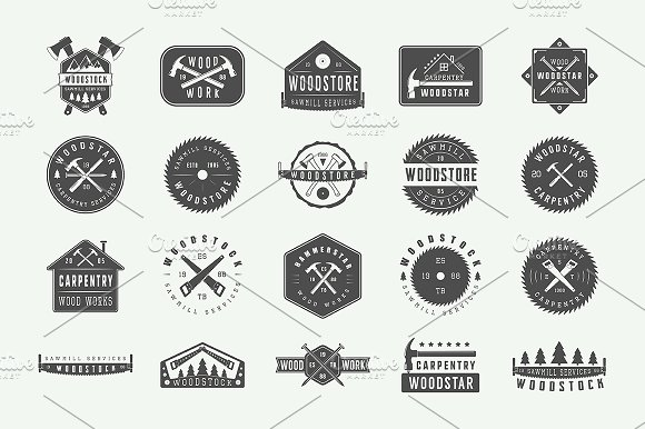 Set Of Vintage Carpentry Logos Logo Templates Creative Market
