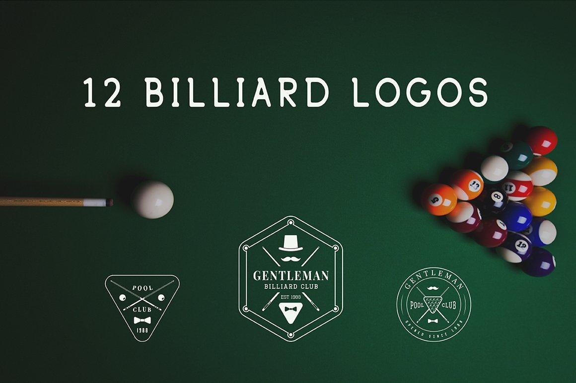 Set Of Vintage Billiard Logos Logo Templates Creative