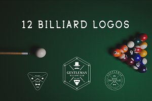 Set of vintage billiard logos