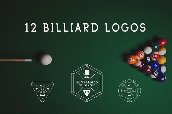 Set of vintage billiard logos